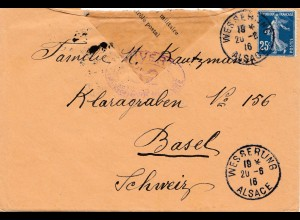 Frankreich: 1916 Wesserung nach Basel - Zensur