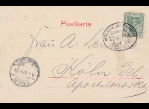 Frankreich: 1903: Ansichtskarte Mauermünster mit Bahnpost Molsheim-Zabern