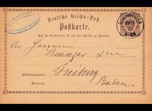 Frankreich: 1873: Ganzsache Bischwiller nach Freiburg
