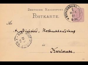 Frankreich: 1884 Strassburg nach Karlsruhe