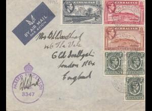 Gibraltar: 1942: Luftpostbrief nach England - Zensur