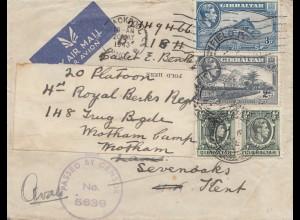 Gibraltar: 1943: Luftpostbrief nach England - Zensur