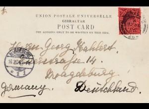 Gibraltar: 1906: Postcard nach Magedburg - Ansichtskarte