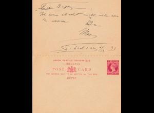 Gibraltar: 1893: Ganzsache nach Italien, ungebrauchte Antwortkarte