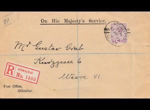 Gibraltar: 1925: Einschreiben nach Wien