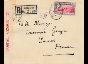 Gibraltar: 1940: Einschreiben nach Frankreich: Zensur