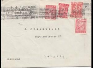 Griechenland: 1925: Brief nach Leipzig