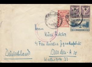 Griechenland: 1938: Brief von Saloniki nach Dresden - Zollüberwachung - geöffnet