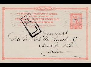 Griechenland: 1919: Ganzsache in die Schweiz