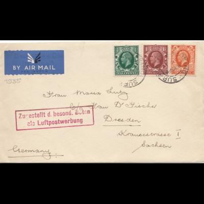 England: Luftpost Dresden: Luftpostwerbung mit Bote zugestellt