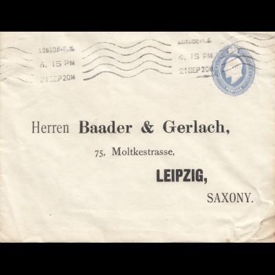 England: 1920: Brief London nach Leipzig - Ganzsache
