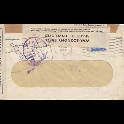 England: 1942: War Economy label: Watford - Perfin