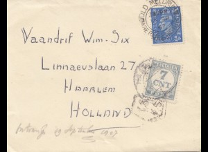 England: 1947: Brief nach Holland - Tax - Haarlem