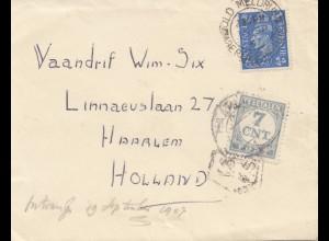 England: 1947: Brief nach Holland - Tax - Haarlem