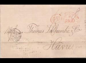 England: 1869: London nach Le Havre mit Textinhalt