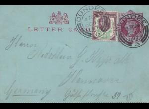 England: 1897: Dundee nach Hannover - Ganzsache - Brief mit Text
