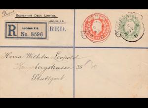 England: 1911 London Einschreiben nach Stuttgart