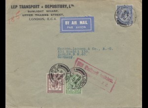 England: 1929: Luftpost London nach Berlin