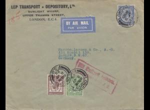 England: 1929: Luftpost London nach Berlin