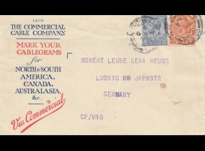 England: 1926: Letter to Germany-Comercial Cable-Wormwood