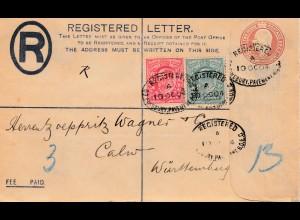 England: 1904: Registered lette-Ganzsache - nach Calw - Perfin