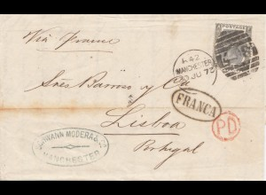 England: 1873: Manchester nach Lisabon mit Textinhalt