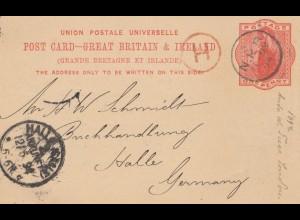 England: 1894: Ganzsache nach Halle