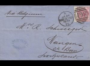 England: 1874: Manchester nach Wangen/Schweiz mit Textinhalt