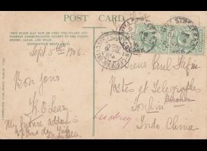 England: 1906: Karte Kissing the Blarney Stone nach Jonkim/Indo China