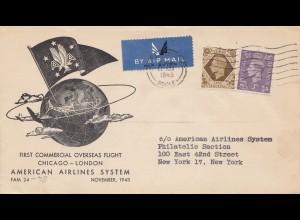 England: 1945: Luftpost London nach USA
