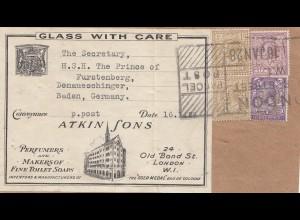 England: 1928: Adressteil von London nach Furstenberg