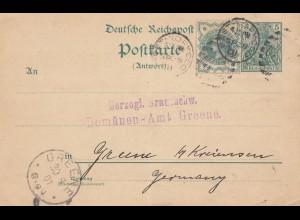 England: 1901: Antwortganzsache Norwood nach Deutschland/Greene