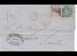 England: 1866 von London nach Sevilla - Briefteil