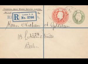England: 1908: Einschreiben London - Ganzsache