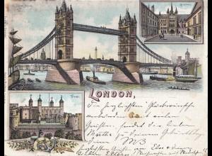 England: 1898: Ansichtskarte London nach Weimar