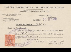 England: 1928: National Committee for training of teachers Glasgow
