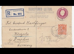 England: 1923: Registered Grantown on Spe nach Dresden
