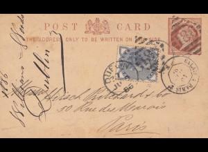 England: 1886: Ganzsache von Dublin nach Paris