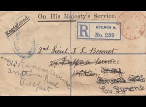 England: 1917: Einschreiben Woolwich nach Belfast