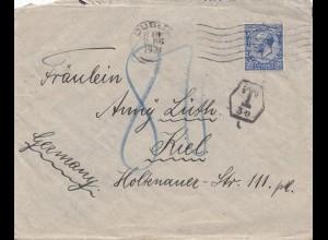 England: 1921: Brief nach Kiel - Taxe