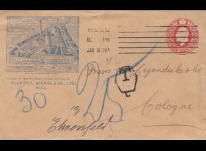 England: 1908: Hull nach Ehrenfeld/Köln - Taxe