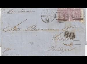 England: 1866 Manchester nach Portugal mit Textinhalt