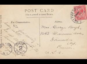 England: 1926: Liverpool - Ansichtskarte nach USA