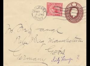 England: 1924: Belfast nach Gera - Ganzsache