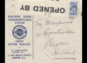 England: 1915: London nach Holland- Censor