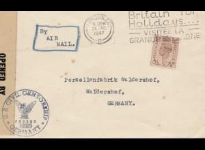 England: 1947: London nach Waldershof/Deutschland - Censor - Perfin