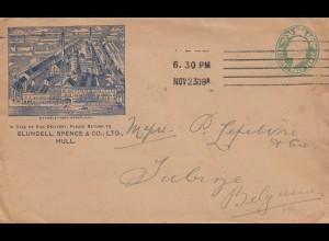 England: 1908: Ganzsache Hull nach Belgium