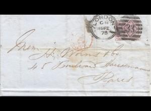 England: 1878: London nach Paris - Perfin