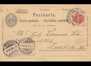 England: 1895: London nach Zürich/Schweiz - Antwortkarte