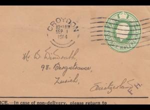England: 1914: Croydon nach Zürich/Schweiz
